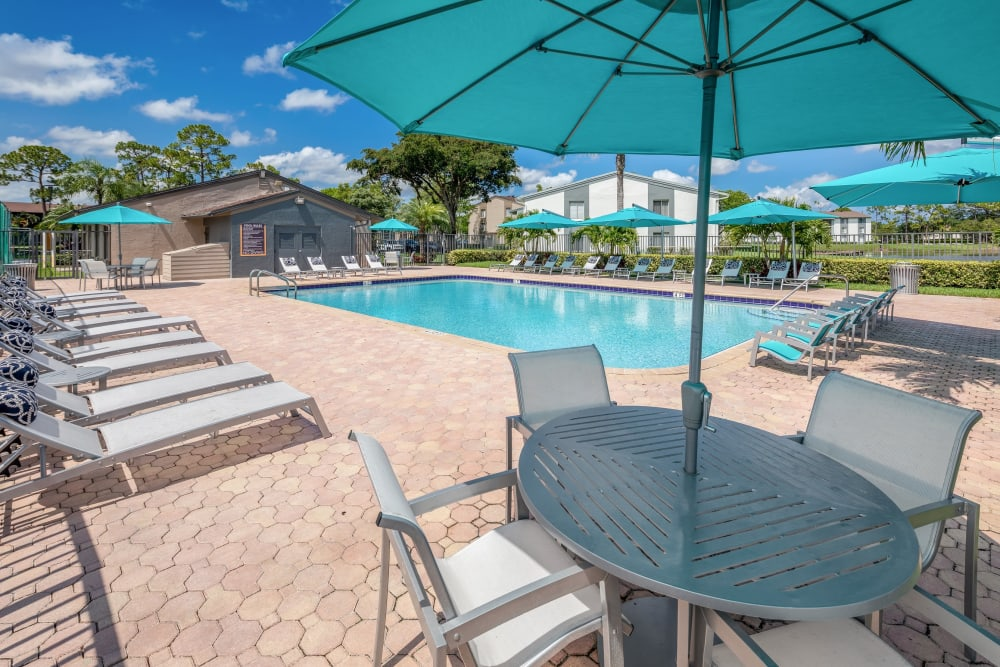 Pool deck on a sunny day at Verse at Royal Palm Beach in Royal Palm Beach, Florida