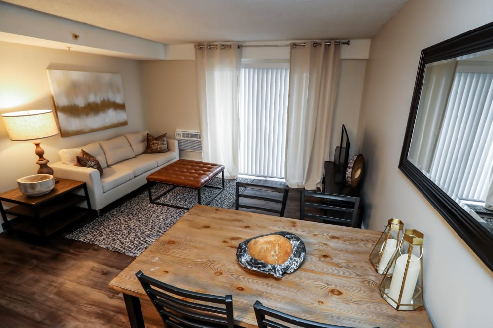 Living room and dining room at Halcyon House in Denver, Colorado