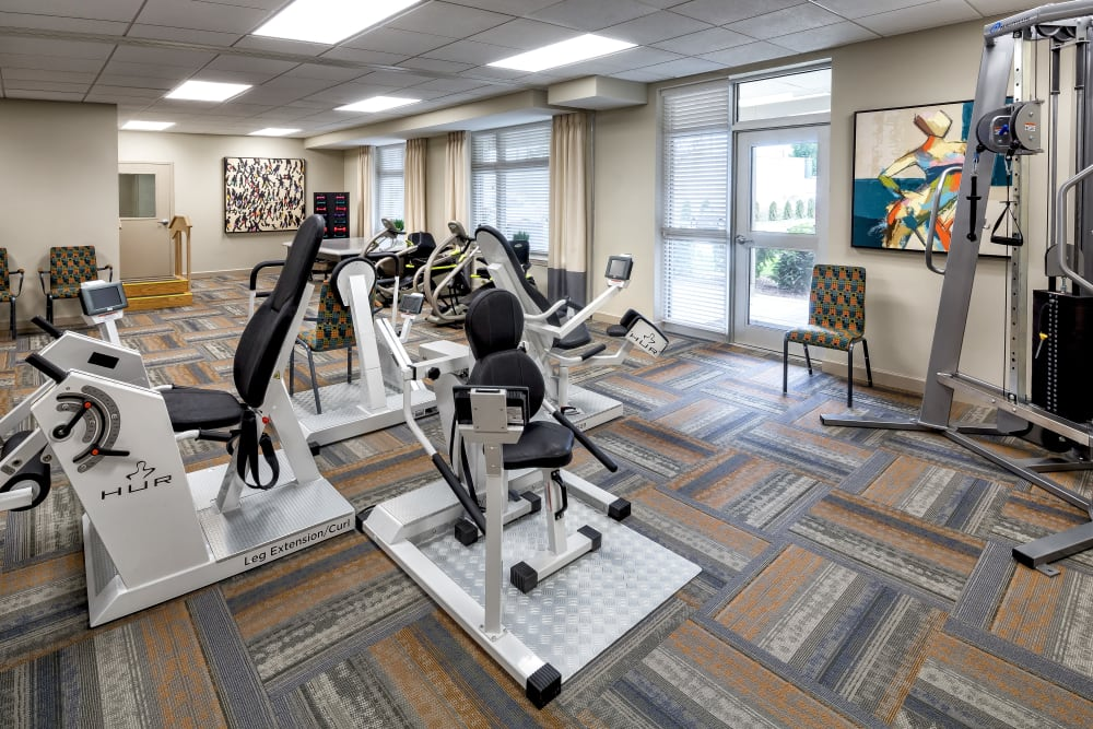 The resident fitness area at Aspired Living of Prospect Heights in Prospect Heights, Illinois.
