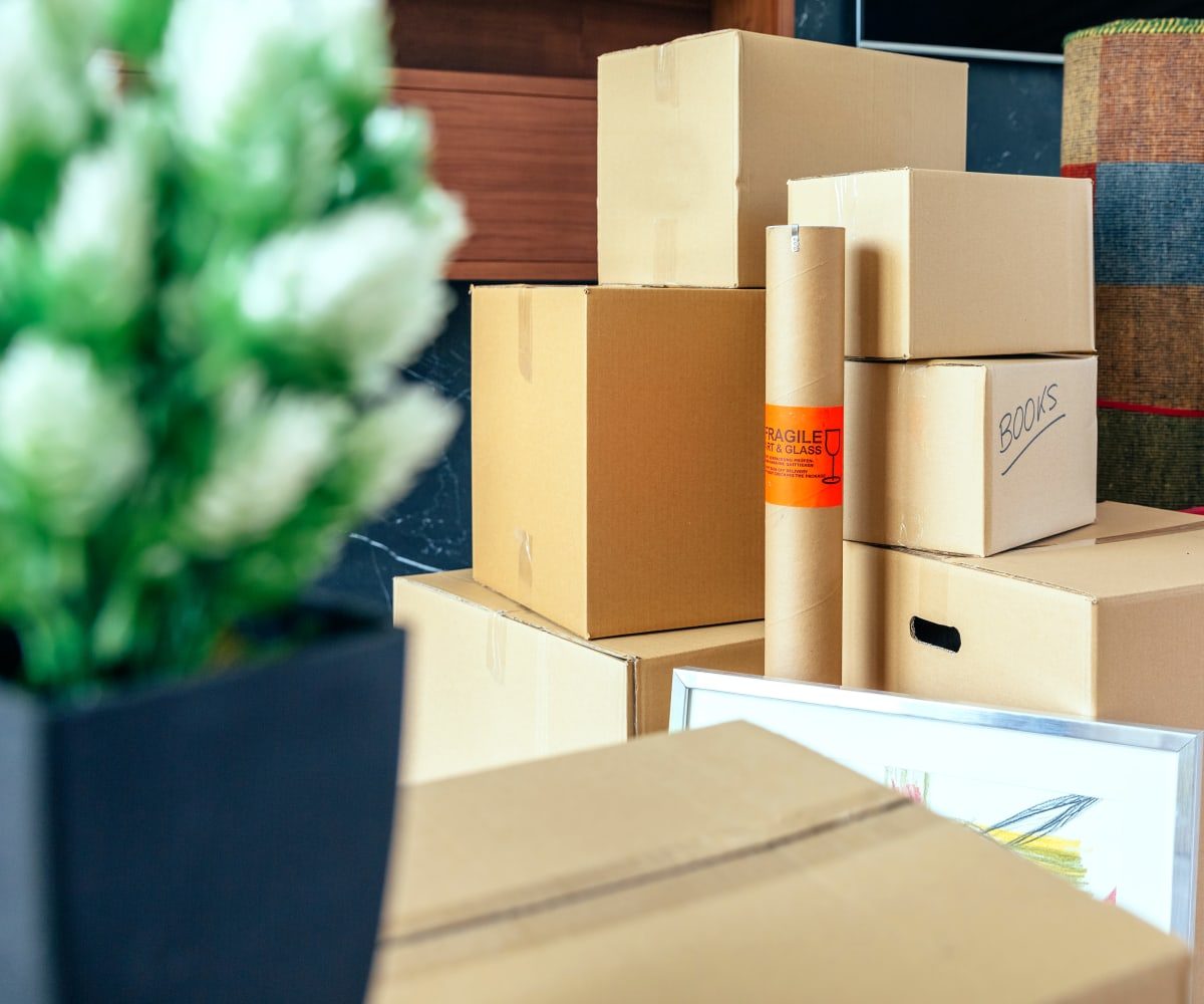 Boxes and packing supplies at Devon Self Storage in Grand Rapids, Michigan