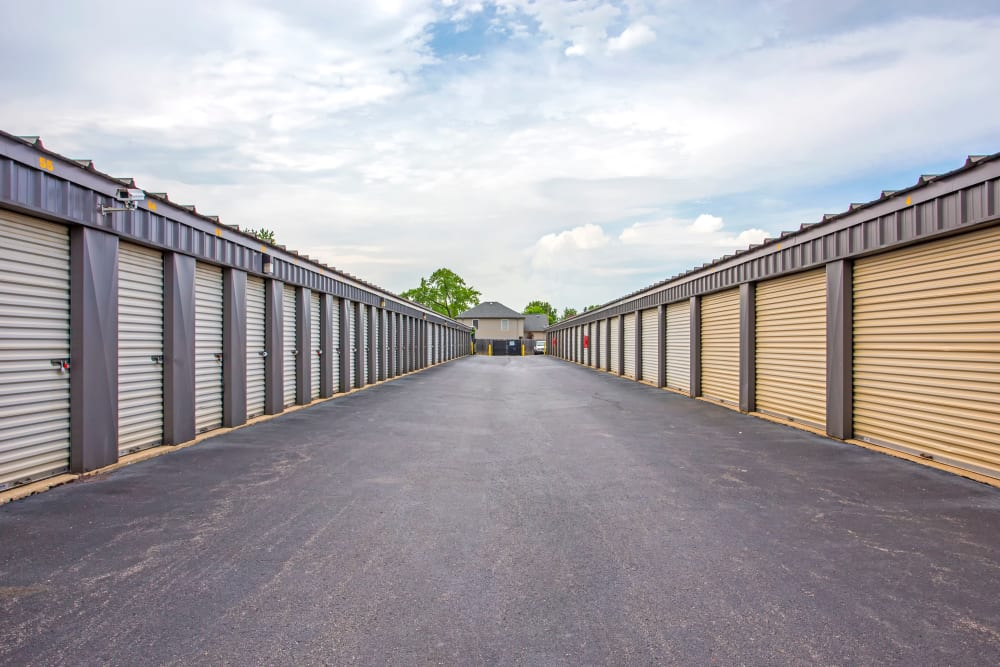 Exterior drive up units at Metro Self Storage in Northlake, Illinois