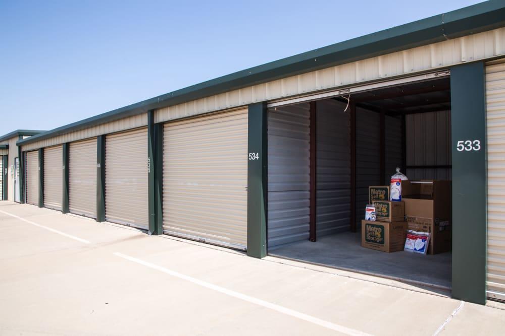 Open outdoors unit at Metro Self Storage in Amarillo, Texas