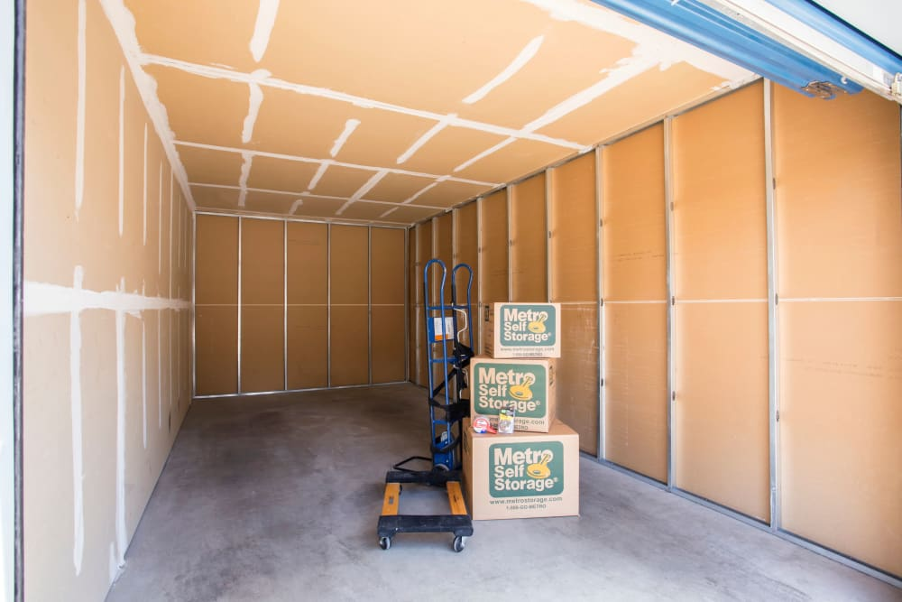 Unit interior with packages at Metro Self Storage in El Paso, Texas