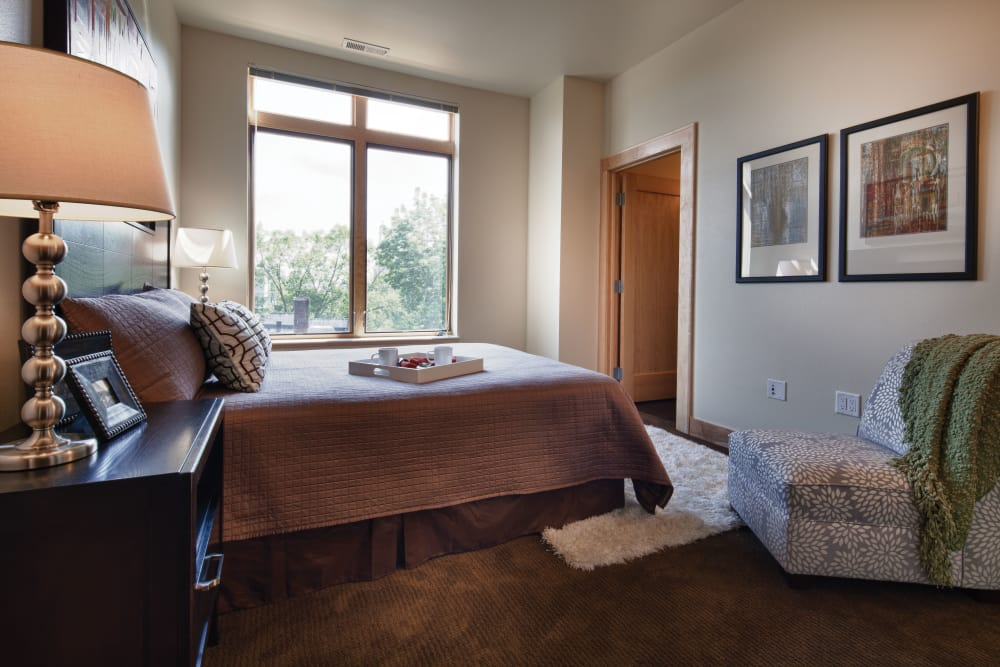 Master bedroom at Keystone Apartments in Madison, Wisconsin