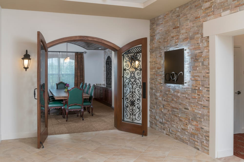 Entrance to dining room at Merrill Gardens at ChampionsGate in ChampionsGate, Florida.