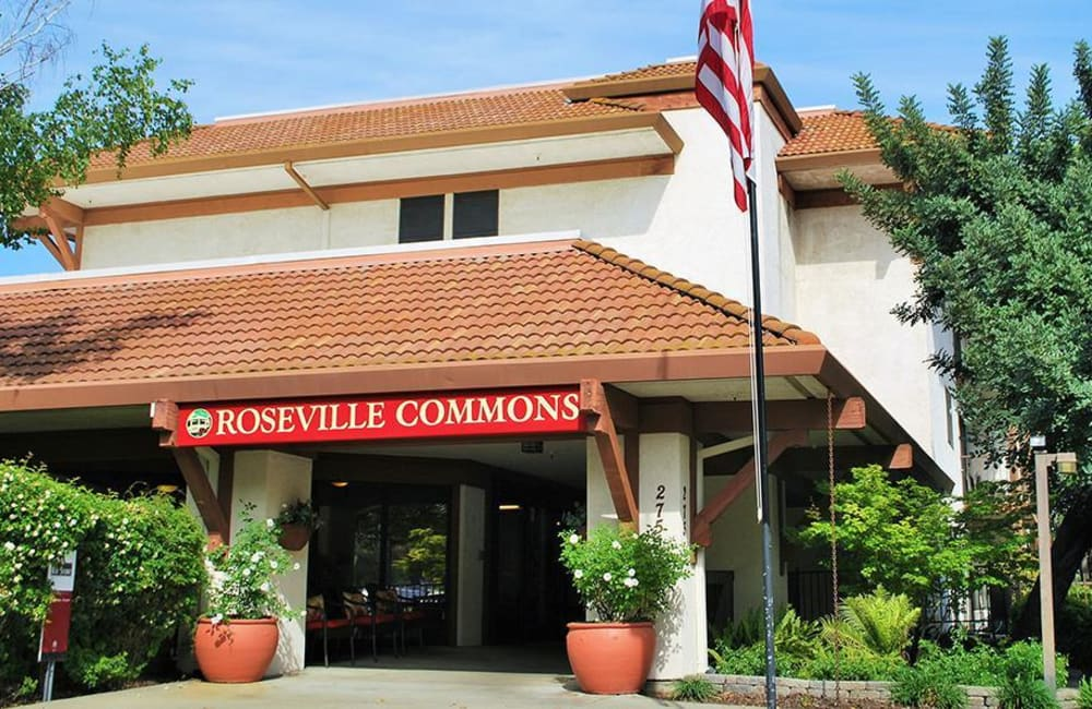 Entrance to Roseville Commons Senior Living in Roseville, California
