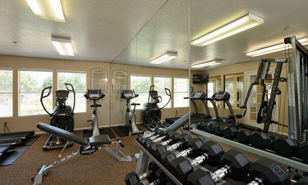 Spacious fitness center at The Patriot Apartments in El Paso, Texas