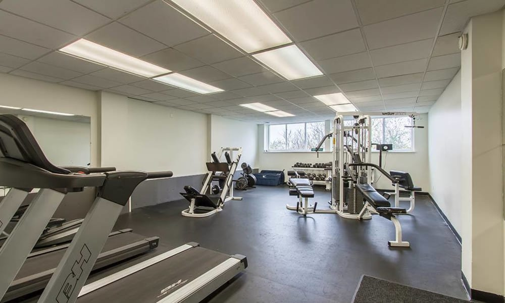 Fitness center at The Meadows Apartments in Syracuse, New York