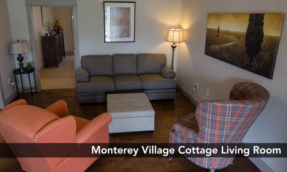 Comfortable Living room included in our Cottage style floor plans at Monterey Village Senior Living in Lawrence, Kansas