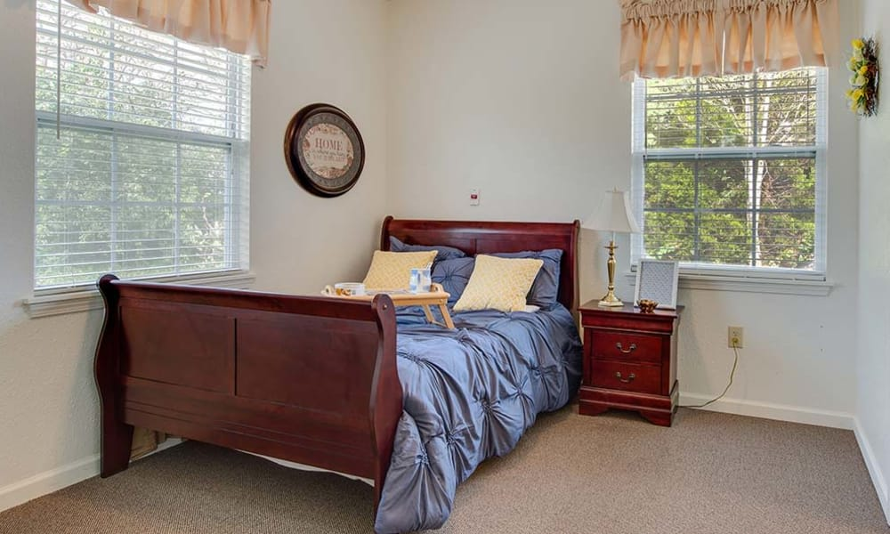 Large bedroom for assisted living residents at Hickory Gardens in Madison, Tennessee