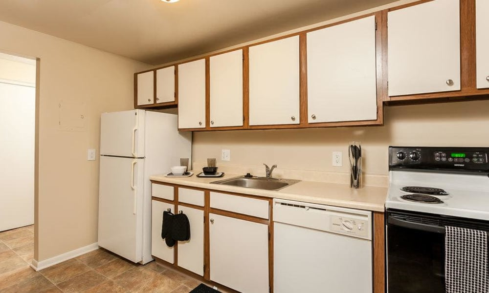 Fully-equipped kitchen at Willowbrooke Apartments and Townhomes in Brockport, NY