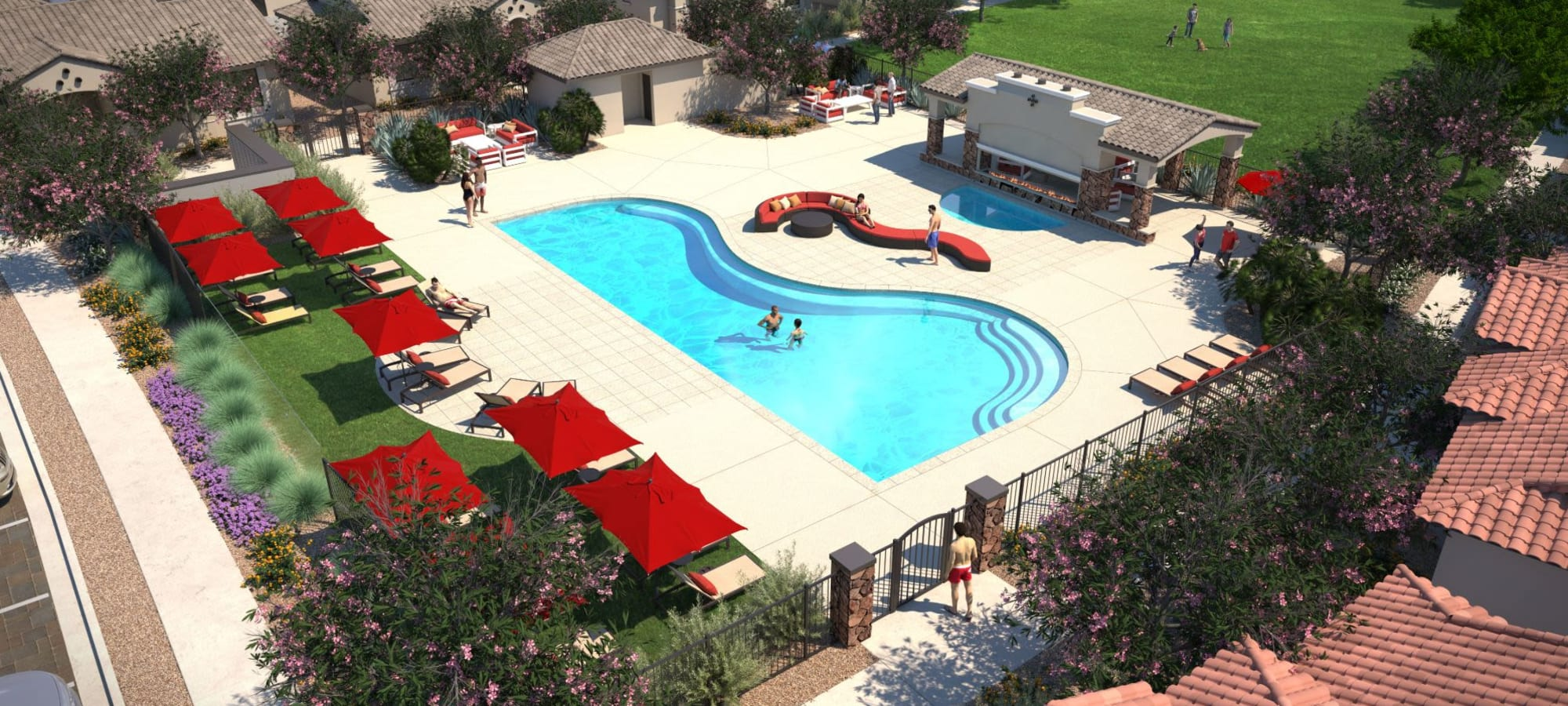 Rending of resort style swimming pool at TerraLane at Canyon Trails in Goodyear, Arizona