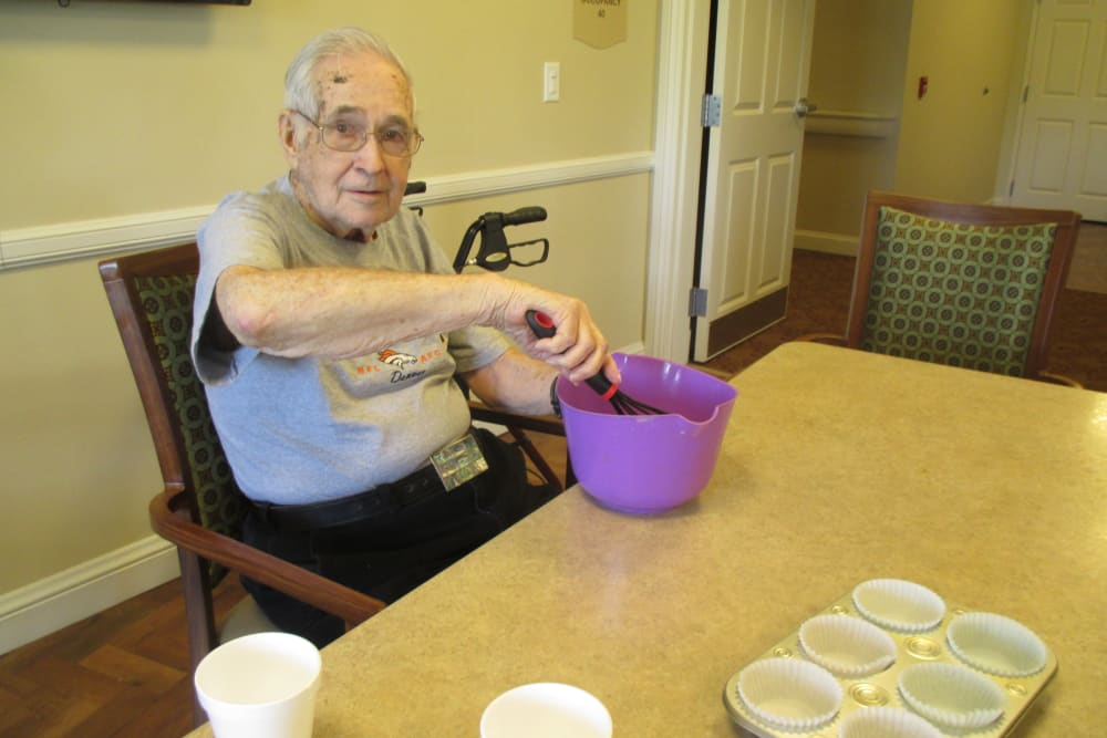 Baking cupcakes at Eastern Star Masonic Retirement Campus in Denver, CO