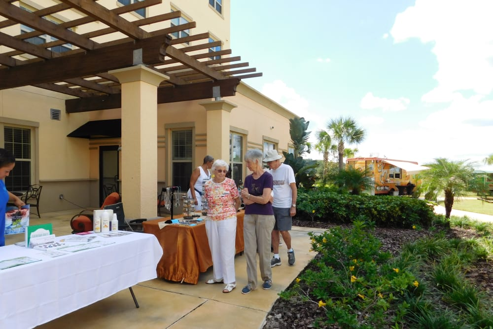Outdoor event at Merrill Gardens at Solivita Marketplace in Kissimmee, Florida.