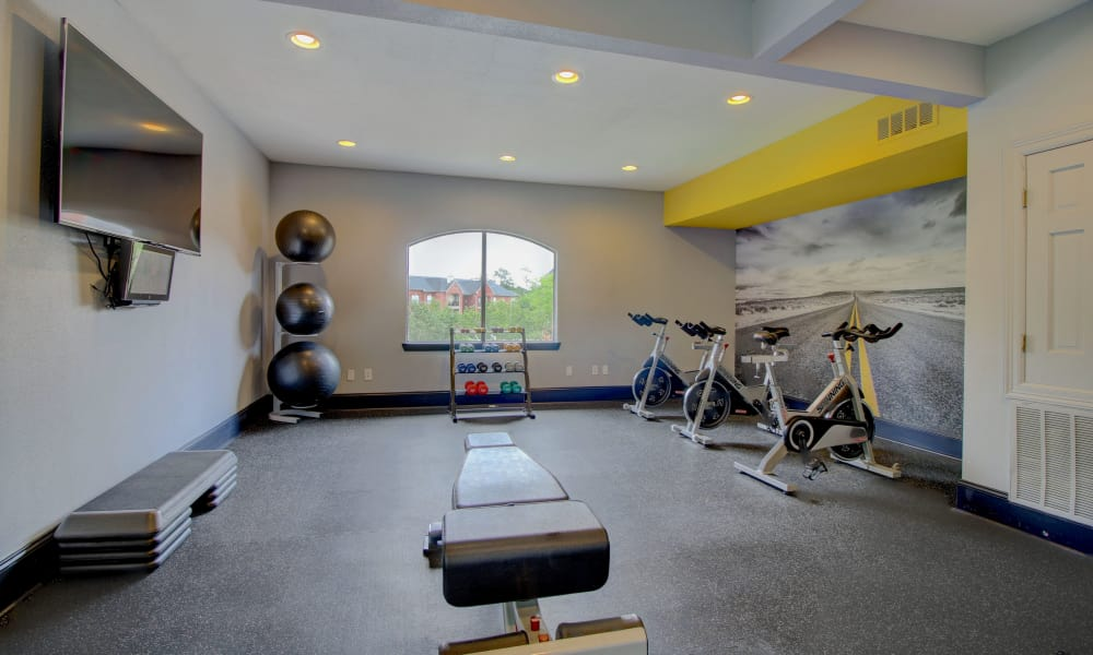 Enjoy our fitness center at apartments in The Woodlands, Texas