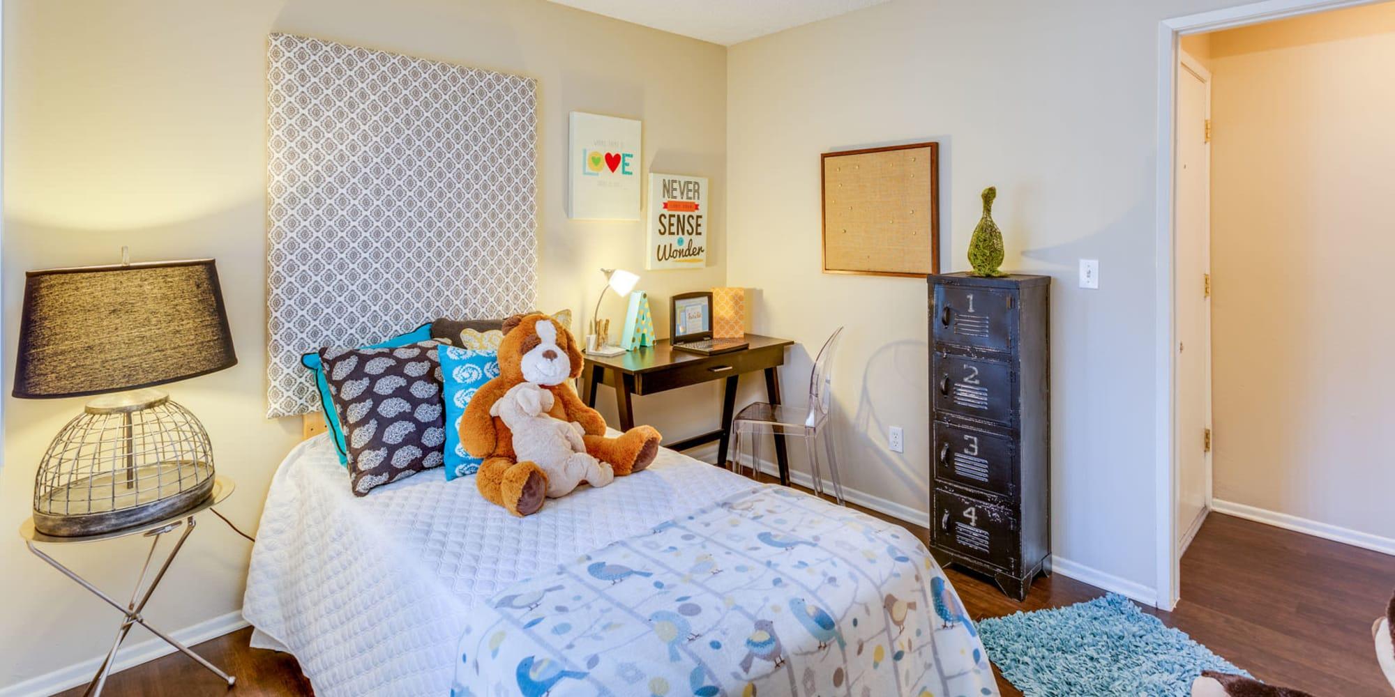 Hardwood flooring in a model child's bedroom at Mountain Vista in Victorville, California