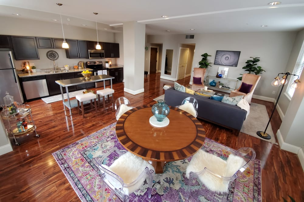 Open format living space showcases a spacious spaces at The Reserve at 4th and Race in Cincinnati, Ohio