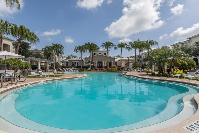 Resort-style pool with clubhouse at Luxe at 1820 in Tampa, Florida