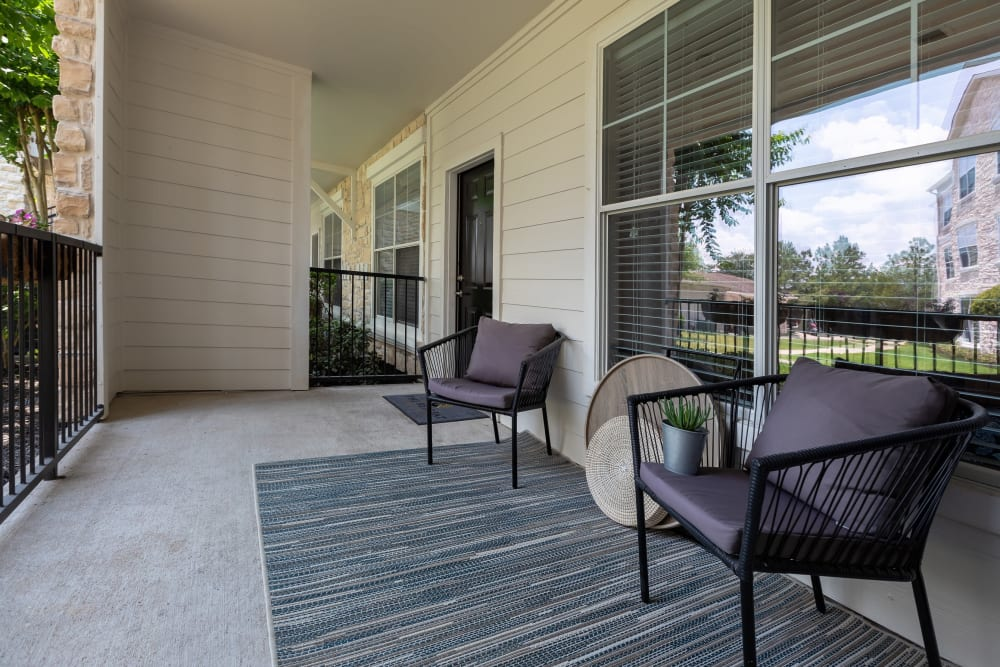 Private unit patio at The Retreat at Cinco Ranch in Katy, Texas