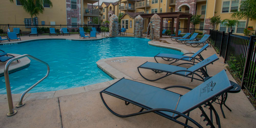Large sparkling swimming pool at Tuscana Bay Apartments in Corpus Christi, Texas