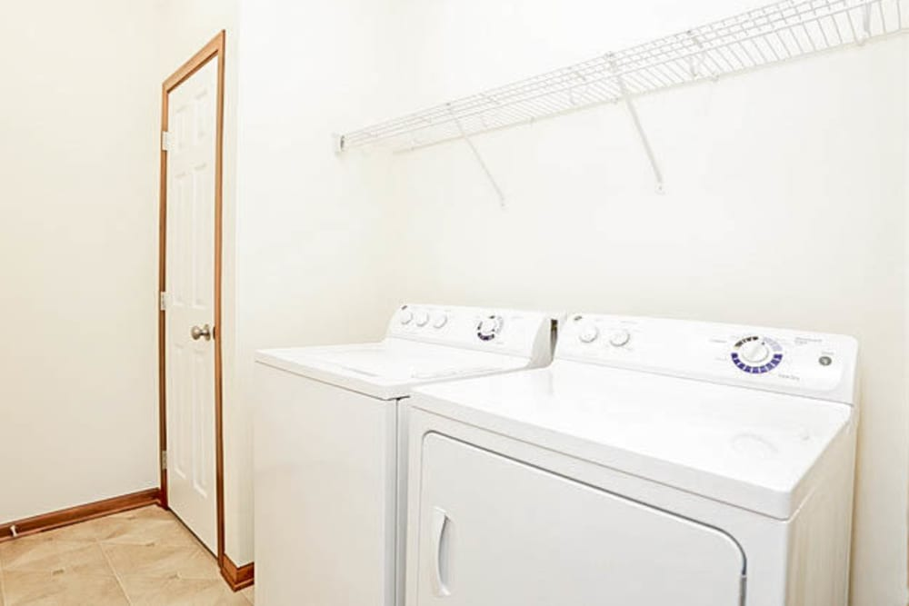 White washer and dryer at Johnston Heights in Johnston, Iowa