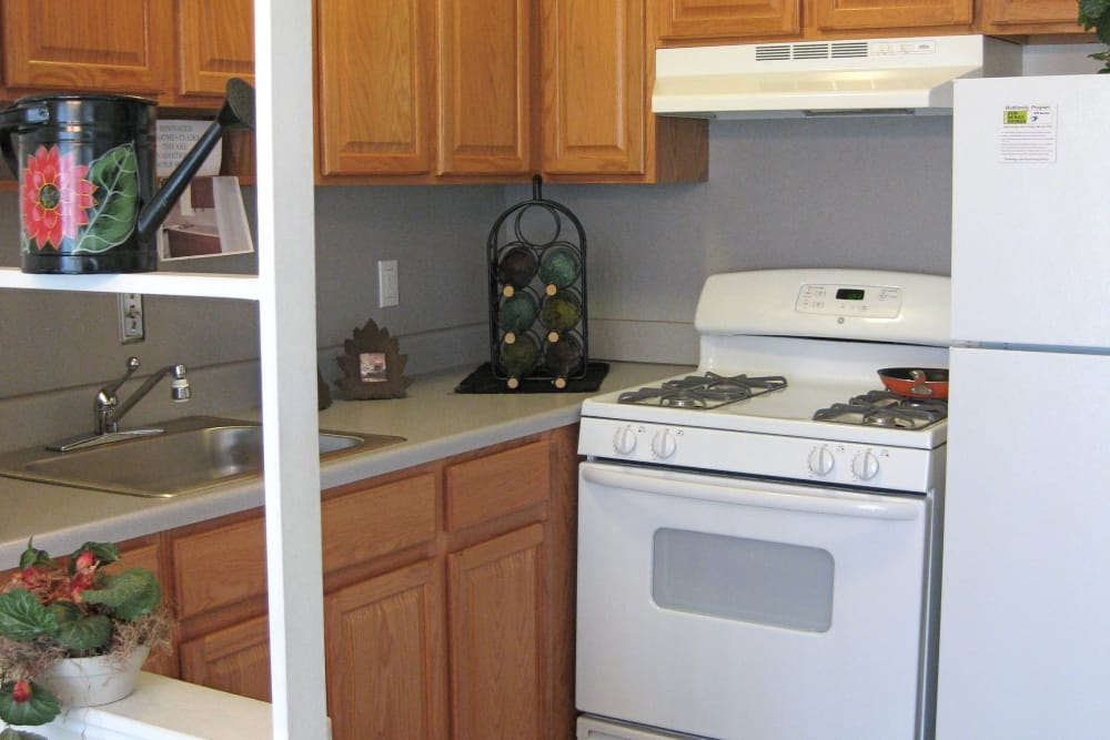 Kitchen at Eastland Village apartments in Harper Woods