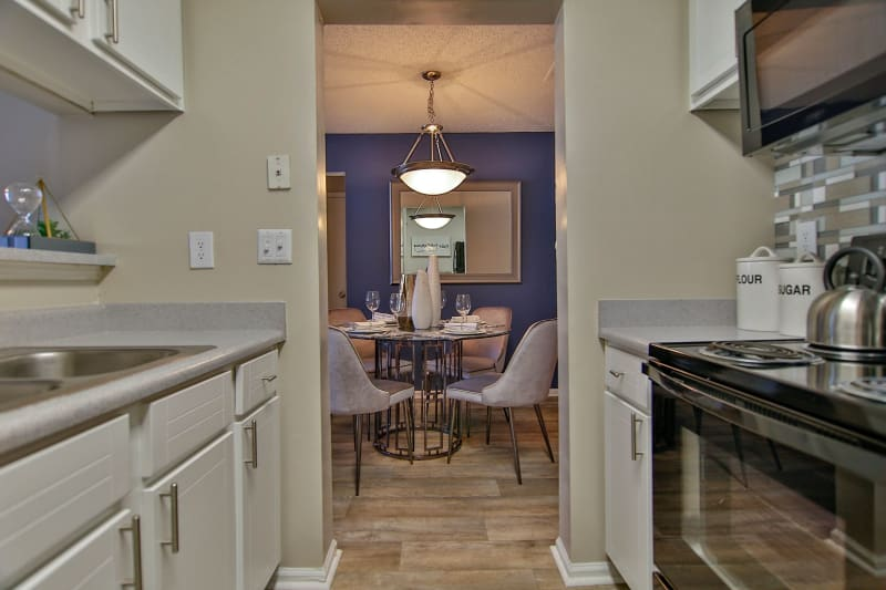 View of breakfast nook from kitchen at Lyric on Bell in Antioch, Tennessee
