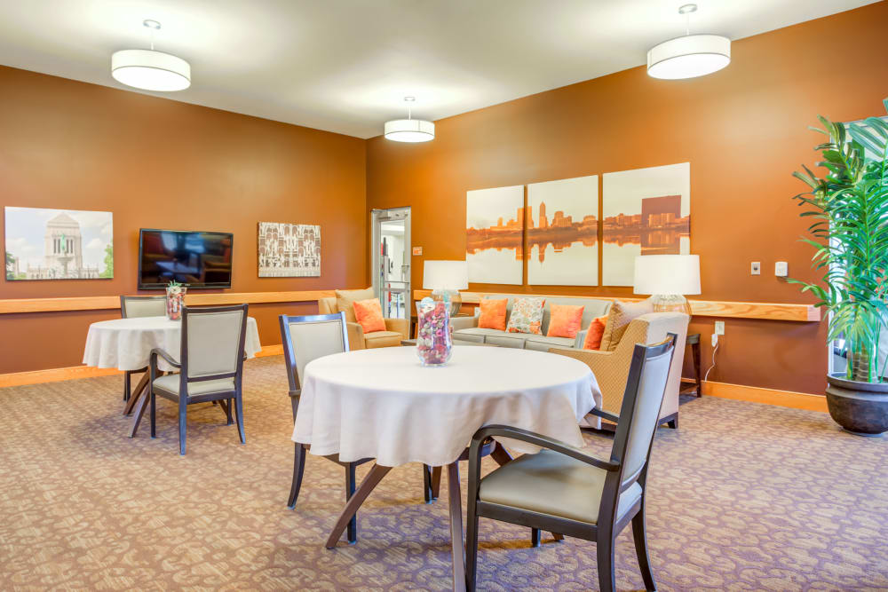 A community dining area for residents at Arlington Place Health Campus in Indianapolis, Indiana