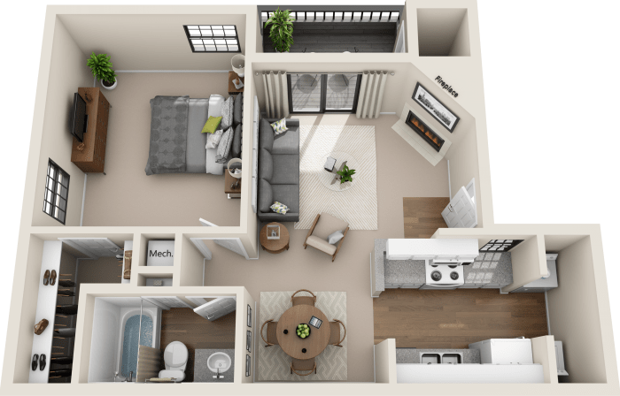 1 Bedroom layout at Promontory Point Apartments in Austin, Texas
