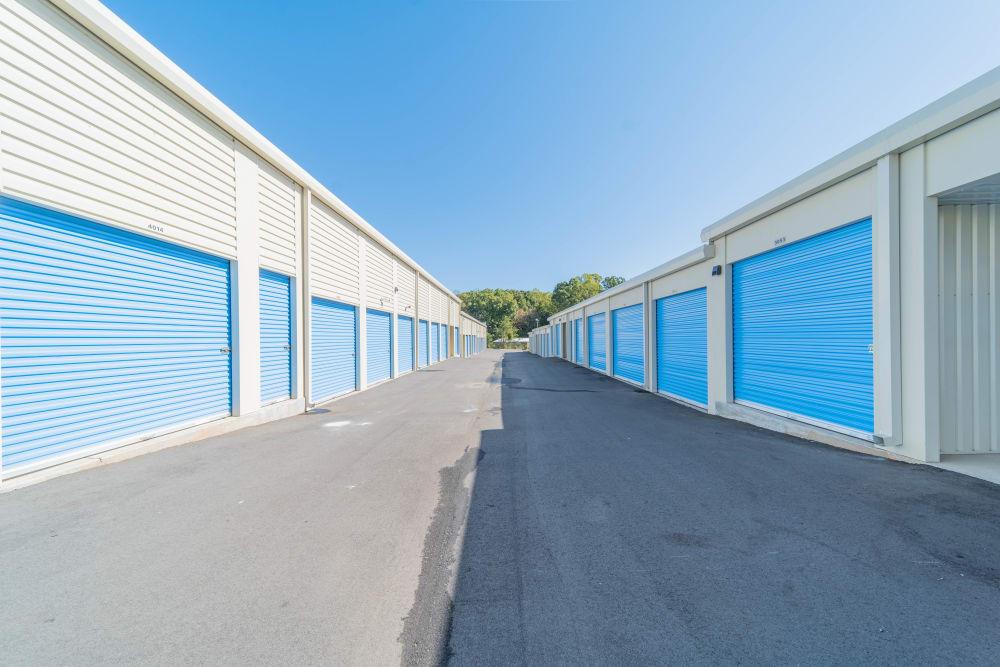 Exterior units at Anchor Self Storage of Huntersville in Huntersville, North Carolina