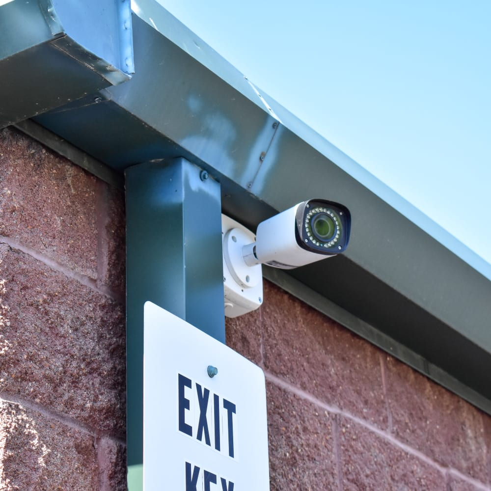 A video surveillance camera at STOR-N-LOCK Self Storage in Thornton, Colorado