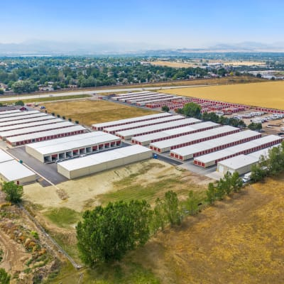 Aerial view of Firehouse Self Storage in Loveland, Colorado