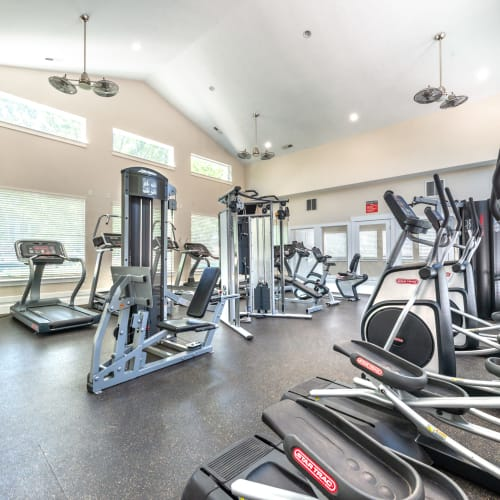 Well-equipped onsite fitness center at Olympus at the District in South Jordan, Utah