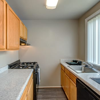 An apartment kitchen at Allentown Apartments in Suitland, Maryland