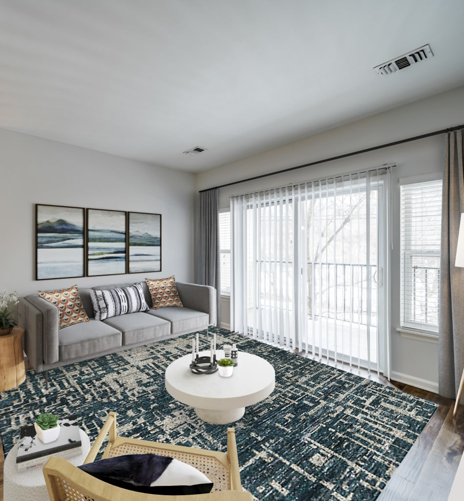 Open-concept living area in a model home at Sofi Gaslight Commons in South Orange, New Jersey