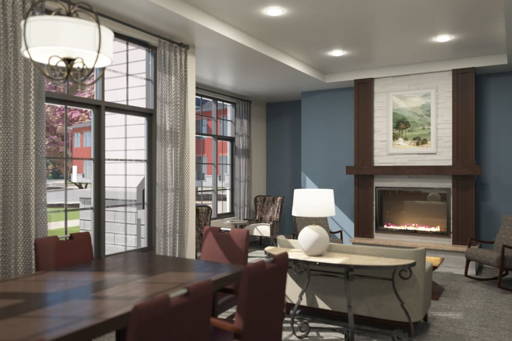 Family lounge with fireside seating at Anthology of Midlothian - Opening Early 2021 in North Chesterfield, Virginia