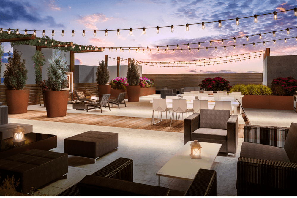 Patio on the roof of Telegraph Arts in Oakland, California