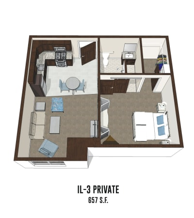 Independent living private room 3 is 657 square feet at Mt Washington in Mt Washington, Kentucky.