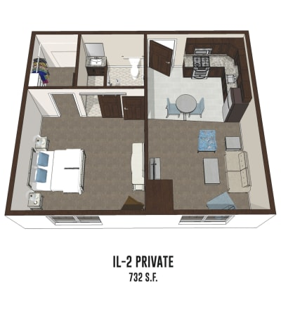 Independent living private room 2 is 732 square feet at Smith's Mill Health Campus in New Albany, Ohio.