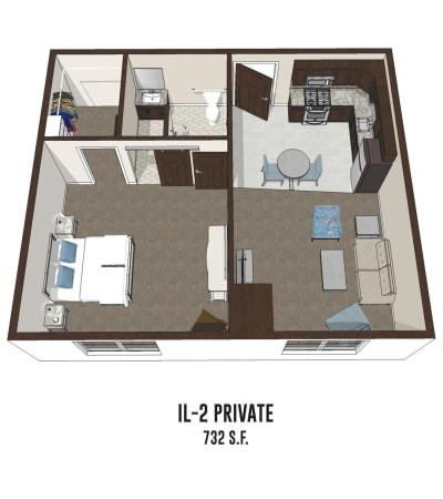 Independent living private room 2 is 732 square feet at Pickerington in Pickerington, Ohio.