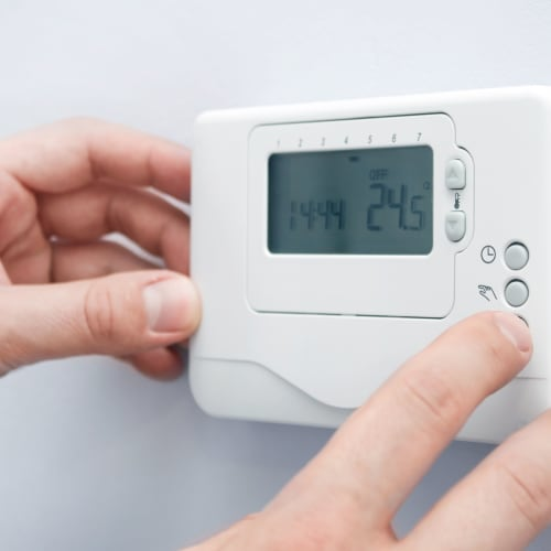 Thermostat for climate control at Red Dot Storage in Manhattan, Kansas