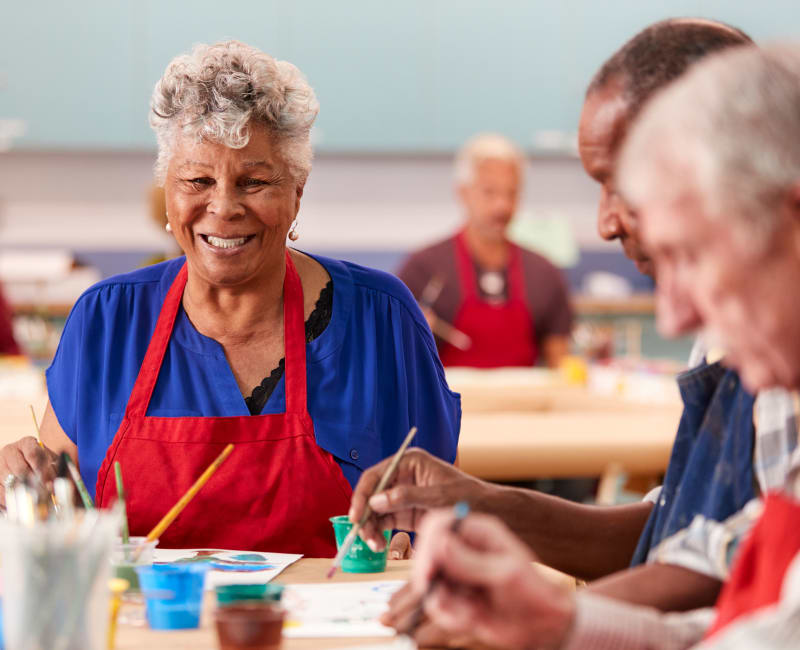 residents participating in an art workshop at York Gardens in Edina, Minnesota