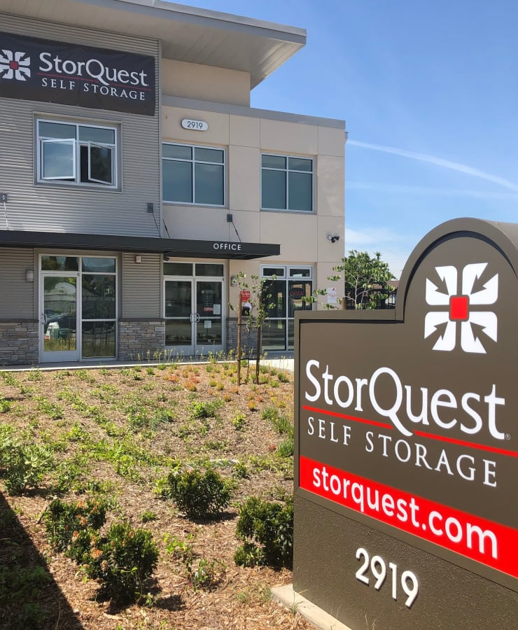 Branding and signage in front of StorQuest Self Storage in San Jose, California