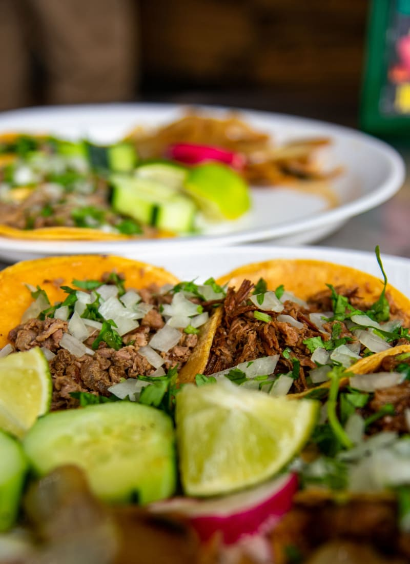 A plate of tacos at a restaurant near Marquis at TPC in San Antonio, Texas