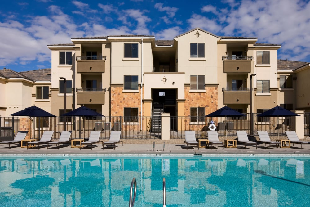 Resort-style swimming pool at Olympus Alameda in Albuquerque, New Mexico