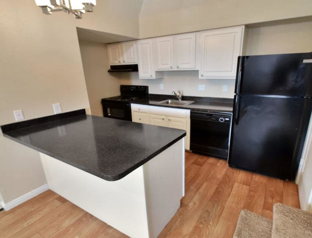 Wood flooring and black appliances in kitchen at Seven65 Lofts