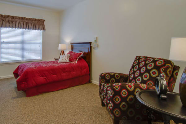 Assisted living apartment bedroom at Waldron Place Senior Living in Hutchinson, Kansas
