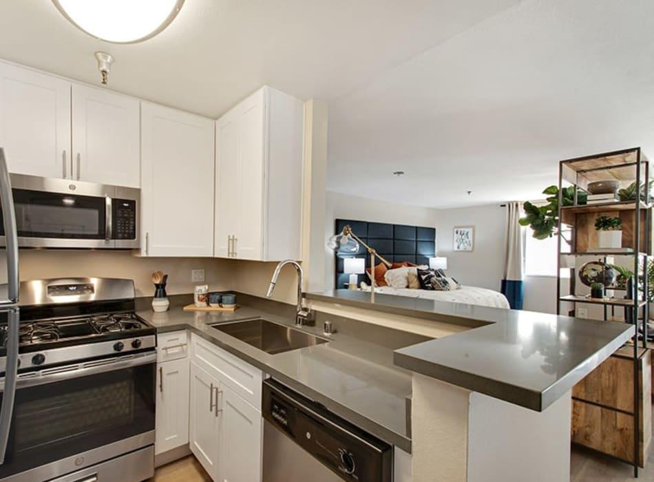Cozy living area in a model studio apartment at Vue Los Feliz in Los Angeles, California