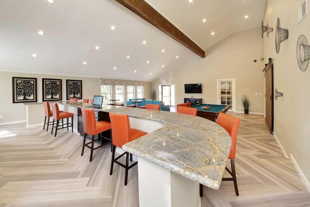 Renaissance Apartment Homes's beautiful clubhouse interior with seating