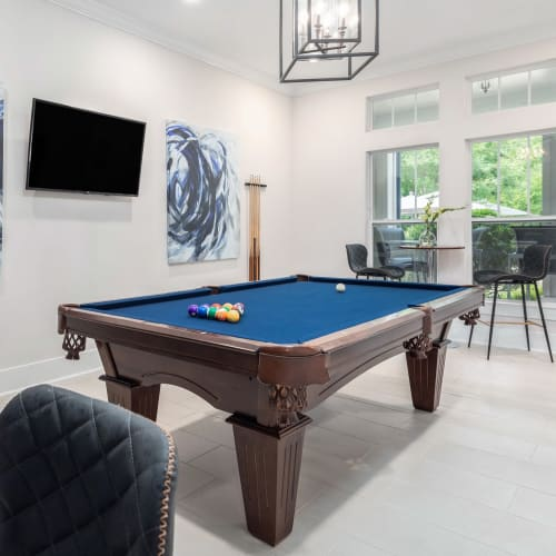 View virtual tour of the billiards table in the game room at The District in Charlotte, North Carolina